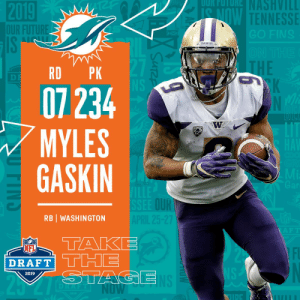 Football, Memes, and 🤖: TENNESSE  DAWGS  RD PK  07234  MYLES  GASKIN  I2  OUR  RB WASHINGTON  Liu  DRAFT  2019 With the #234 overall pick in the 2019 @NFLDraft, the @MiamiDolphins select @UW_Football RB Myles Gaskin! #NFLDraft https://t.co/QuINYzVgGG