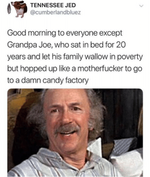 FOR REAL #fuckgrandpajoe (credit & consent: @shoneysbreakfastbar: TENNESSEE JED  @cumberlandbluez  Good morning to everyone except  Grandpa Joe, who sat in bed for 20  years and let his family wallow in poverty  but hopped up like a motherfucker to go  to a damn candy factory FOR REAL #fuckgrandpajoe (credit & consent: @shoneysbreakfastbar