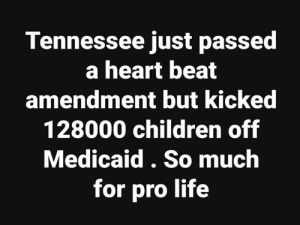 Children, Life, and Memes: Tennessee just passed  a heart beat  amendment but kickec  128000 children off  Medicaid. So much  for pro life