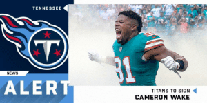 Memes, News, and Tennessee: TENNESSEE  NEWS  ALER  TITANS TO SIGN  CAMERON WAKE Cameron Wake and the @Titans have agreed to a three-year, $23 million deal. (via @TomPelissero) https://t.co/YxKOMp63N1