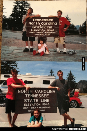 10 years between visits, and this mountain shrunk 2 feet.omg-humor.tumblr.com: Tennessee  North Carolına  State Line  ELEVATION S048  GREAT SMOKY MOUNTAINS  NATIONAL PARK  NOR TH CAROLINA  TENNESSEE  STATE LINE  ELEVATION 5046  GREAT SMOKY MOUNTAINS  PARK  NATI  FUNNY STUFF ON MEMEPIX.COM  MEMEPIX.COM 10 years between visits, and this mountain shrunk 2 feet.omg-humor.tumblr.com
