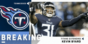 BREAKING: @Titans have agreed to terms with S Kevin Byard on a 5-year, $70.5M extension. (via @RapSheet) @KB31_Era https://t.co/zkKjWYfS75: TENNESSEE  (T.  NFL  TITANS  BREAKING  TITANS EXTENDING  KEVIN BYARD BREAKING: @Titans have agreed to terms with S Kevin Byard on a 5-year, $70.5M extension. (via @RapSheet) @KB31_Era https://t.co/zkKjWYfS75