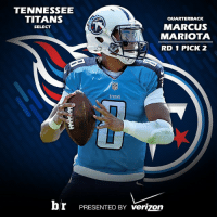 Sports, Titanic, and Verizon: TENNESSEE  TITANS  QUARTERBACK  MARCUS  SELECT  MARIOTA  RID 1 PICK 2  TITANS  br PRESENTED BY verizon The @tennesseetitans select Marcus Mariota with the No. 2 pick!