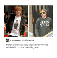 Harry Potter, Memes, and Avengers: TER  Fe  the-avengers-initiative99  Rupert Grint constantly wearing Harry Potter  related shirts is the best thing ever hi
