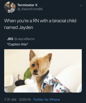 Blackpeopletwitter, Iphone, and Twitter: Terminator X  _RakimFromBK  When you're a RN with a biracial child  named Jayden  JBS @JayceBaron  *Caption this*  7:31 AM 3/30/19 Twitter for iPhone Karen is that you? (via /r/BlackPeopleTwitter)