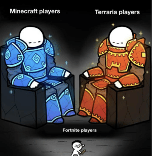 Bad, Minecraft, and Good: Terraria players  Minecraft players  +  S  Fortnite players Minecraft good. Fortnite bad