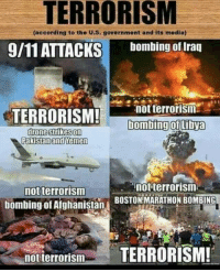 Drone, Drones, and Pakistan: TERRORISM  (according to the U.S. govornmont and its media)  9/11 ATTACKS  bombing of Iraq  not terrorism  TERRORISM!  bombing of ibya  drone strikes on  Pakistan and Yemen  not terrorism  not terrorism  BOSTON MARATHON BOMBING  bombing of Afghanistan  not terrorism  TERRORISM!