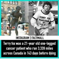 Memes, Respect, and Canada: TERRY ARATHON  HOPE  INSTAGRAMI FACTMALL  Terry fox was a 21-year old one-legged  cancer patient who ran 3,339 miles  across Canada in 143 days before dying ❤❤ Respect