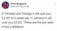 Jamaica, Pie, and Trinidad: Terry Burgoyne  @terryburgoyne96  In Trinidad and Tobago it will cost you  £2.50 for a steak pie, in Jamaica it will  cost you £3.00. These are the pie rates  of the Caribbearn important!!!