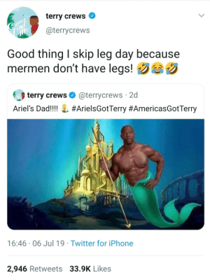 Retweets: terry crews  Gome  ind  @terrycrews  Good thing I skip leg day because  mermen don't have legs!  terry crews O  @terrycrews 2d  Ariel's Dad!!!! L #ArielsGotTerry #AmericasGotTerry  16:46 · 06 Jul 19 · Twitter for iPhone  2,946 Retweets 33.9K Likes