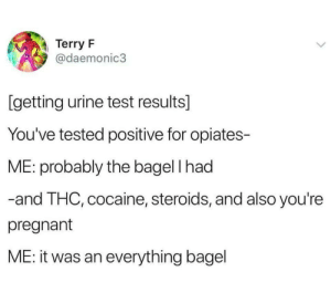 meirl by despisesunrise MORE MEMES: Terry F  @daemonic3  [getting urine test results]  You've tested positive for opiates-  ME: probably the bagel I had  -and THC, cocaine, steroids, and also you're  pregnant  ME: it was an everything bagel meirl by despisesunrise MORE MEMES