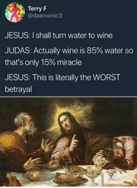 Jesus, Memes, and The Worst: Terry F  daemonic3  JESUS: I shall turn water to wine  JUDAS: Actually wine is 85% water so  that's only 15% miracle  JESUS: This is literally the WORST  betrayal Like Classical Art Memes for more