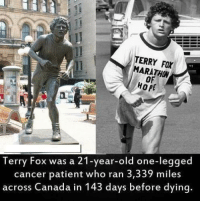 Memes, Respect, and Canada: TERRY FOX  MARATHON  HOPE  Terry Fox was a 21-year-old one-legged  cancer patient who ran 3,339 miles  across Canada in 143 days before dying. Respect Terry Fox!