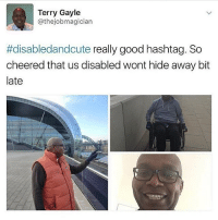 Memes, Good, and Cheerfulness: Terry Gayle  @thejobmagician  #disabledandcute really good  hashtag. So  cheered that us disabled wont hide away bit  late disabledandcute