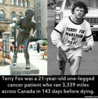 Easter, Gym, and Memes: TERRY MARATHON  HOPE  Terry Fox was a 21-year-old one-legged  cancer patient who ran 3  miles  across Canada in 143 days before dying.  memes. Com One word. BOSS. . @DOYOUEVEN 👈🏼 70% OFF EASTER SALE 🎉🐰Hit the LINK IN BIO ✔️