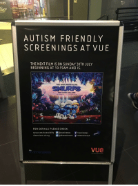 """Being Alone, Lost, and Autism: TERS  loco  AUTISM FRIENDLY  SCREENINGS AT VUE  THE NEXT FILM IS ON SUNDAY 30TH JULY  BEGINNING AT 10:15AM AND IS:  THEY WERE NEVER ALONE  THE LOST VILLAGE  FOR DETAILS PLEASE CHECK  myvue.com/accessibility画@vuecinemas  dimensions-uk.org  f/vuecinemas  f/dimensionsuk  画@dimensionsu k  BIG SCREEN ENTERTAINMENT <p>What about this new format? The film could easily be replaced. via /r/MemeEconomy <a href=""""http://ift.tt/2uuE1HQ"""">http://ift.tt/2uuE1HQ</a></p>"""