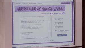 """Internet, Life, and Parks and Recreation: tes  H Hoosercareers.oom  Page Saety- Tools  >> Search Jobs  >Job Center  >>Online Resumé  >> Account  Welcome TOM  HOOSIERCAREERS.COM  Change your job, change your life  appear on the arns menu tnrougn aggressive ieadentap ano cnarm  Change Font  Administrator  DEPARTMENT OF PARKS AND RECREATION- Pawnee, IN  Drove additional traflic to area parks through ingenious marketing  and promotions  Made frequent attempts to contact A-list celebrities Joan  Callamezzo, Perd Hapley, Diddy for potential park events  Attempted to designate  Change Size  Change Color  one area park for """"Ladies Only: failed, but  successfully dodged resulting discrimination lawsuit  Revert To Last Saved  CONTACT INFORMATION  cell-812 355-0149  work- 812 535-0161  Update Resume  tom.haverford@cityolpawne.org  Disclamier Advertisecs Twtersals Syry tele 1ect  100%  Internet  Internet  Informa  Setup Tom Haverford's resume includes: """"tried to make a Ladies only park"""" and """"successfully avoided the resultant discrimination lawsuit"""""""