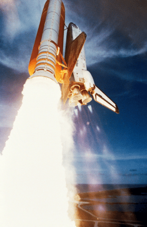 space-pics:  Just moments following ignition, the Space Shuttle Challenger, mated to its two solid rocket boosters and an external fuel tank, soars toward a week-long mission in Earth orbit. Note the diamond shock effect in the vicinity of the three main engines. [2614 x 4021]: tes space-pics:  Just moments following ignition, the Space Shuttle Challenger, mated to its two solid rocket boosters and an external fuel tank, soars toward a week-long mission in Earth orbit. Note the diamond shock effect in the vicinity of the three main engines. [2614 x 4021]