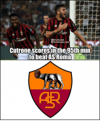 Memes, As Roma, and 🤖: tes  TrollFootball  TheTrollFootball Insta  Cutrone scoresinthe 95th min  to beat ASRoma  AR Tag the AS Roma fans 🤣 (📷: @dbaron46 ) https://t.co/HSqf5jyvTD