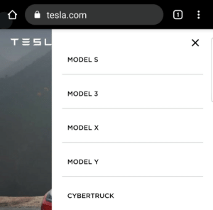 I see what you did there Elon: tesla.com  1  TESL  X  MODEL S  MODEL 3  MODEL X  MODEL Y  CYBERTRUCK I see what you did there Elon