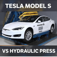 Memes, Models, and 🤖: TESLA MODEL S  VS HYDRAULIC PRESS It withstands it pretty well!