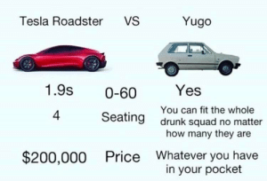 Drunk, Squad, and Yugo: Tesla Roadster  VS  Yugo  1.9s  Yes  0-60  You can fit the whole  drunk squad no matter  how many they are  4  Seating  Whatever you have  in your pocket  $200,000  Price For car junkies