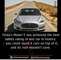 model s: Tesla's Model S has achieved the best  safety rating of any car in history  - you could stack 4 cars on top of it,  and its roof wouldn't cave.  /didyouknowpagel @didyouknowpage