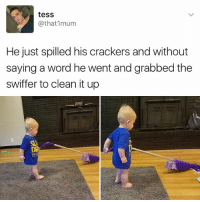Memes, Word, and 🤖: tesS  @that 1mum  He just spilled his crackers and without  saying a word he went and grabbed the  Swiffer to clean it up I just died from this