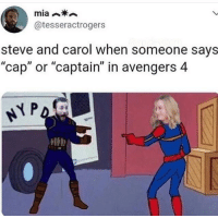 "best meme ever: @tesseractrogers  steve and carol when someone says  ""cap"" or ""captain"" in avengers 4  lb best meme ever"