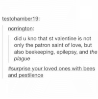 there was a bee on this kid today and i had to lightly knock it off w a lacrosse stick: test chamber 19:  ncrrington:  did u kno that st valentine is not  only the patron saint of love, but  also beekeeping, epilepsy, and the  plague  #surprise your loved ones with bees  and pestilence there was a bee on this kid today and i had to lightly knock it off w a lacrosse stick