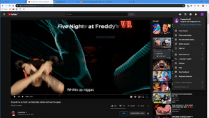 Google, Trap, and youtube.com: Test V1  Scared me so hard I accidentally  Bookmark list  +  Submit to PewdiepieSubmissions X  New Tab  X  https://www.youtube.com/watch?v= H kn 5 b0xm a c4  Apps  YouTube  Search  DragonLordZ  DragonLordZ.AC@gmail.com  Up next  UR  Five Nights at Freddy's  Manage your Google Account  A  Your channel  18:17  Paid memberships  Full-screen Snip  R  YouTube Studio (beta)  Switch account  13:47  Sign out  B  Spelling Bee  Dark theme: On  CallMeCarson  12:15  ALanguage: English  Settings  Help  36:42  1  Send feedback  Keyboard shortcuts  10:04  CBR  Location: United Kingdom  AUDITIONS  A Restricted Mode: Off  WHATS up niggas  9:07  EP.13 Parkourse We're Back Edition!  (Ep. 13)  0:00 18:27  HigaTV  1.5M views  Scared me so hard I accidentally retired and went to japan  PARKOURSE  New  15:05  Trap Adventure 2 - WHO MADE  THIS GAME AND WHY ? ..  353,673 views  38K  ESAVE  414  SHARE  PewDiePie  19M views  PewDiePie  JOIN  SUBSCRIBED 96M  12:02  Published on Jun 6, 2019  Hard Mode Is MUCH Scarier In Oopsie