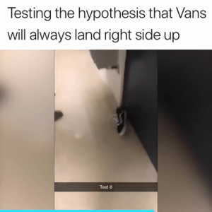 What sorcery is this? 😂: Testing the hypothesis that Vans  will always land right side up  Test 8 What sorcery is this? 😂