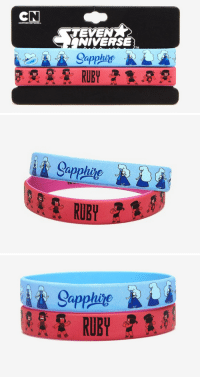 love-takes-work:The Sapphire and Ruby rubber bracelets are now up on the Hot Topic site. You can get the set for under $8 if you live somewhere Hot Topic has a store or delivers!: TEVEN  NIVERSE  Sapphire   Gappline  RUBY   Sapphte  RUBY love-takes-work:The Sapphire and Ruby rubber bracelets are now up on the Hot Topic site. You can get the set for under $8 if you live somewhere Hot Topic has a store or delivers!