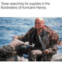 Hurricane Harvey: Texan searching for supplies in the  floodwaters of hurricane Harvey.