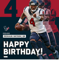 HAPPY BIRTHDAY to @HoustonTexans quarterback @deshaunwatson! 🙌🎉 https://t.co/GJP7VHCMkF: TEXANS  091495  DESHAUN WATSON QB  HAPPY  BIRTHDAY! HAPPY BIRTHDAY to @HoustonTexans quarterback @deshaunwatson! 🙌🎉 https://t.co/GJP7VHCMkF