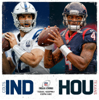 Andrew Luck and the @Colts?  or Deshaun Watson and the @HoustonTexans?  All eyes on Houston. #INDvsHOU https://t.co/jtmcEHgVye: TEXANS  SEASONS  ANS  NFL  WILD CARD  TODAY, 435PMET  ESPN/ABC Andrew Luck and the @Colts?  or Deshaun Watson and the @HoustonTexans?  All eyes on Houston. #INDvsHOU https://t.co/jtmcEHgVye