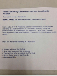 Jimmy Carter, Memes, and Lincoln: Texas A&M Study calls obama 5th Best President in  America  Good research work by a fine institution.  OBAMA RATED 5th BEST PRESIDENT IN OUR HISTORY  From a total of 44 US Presidents, Obama has been rated as the 5th best  according to a study completed at Texas A&M University. The Public  Relations Office at A&M released this statement: After only 5 years in  office, Americans have rated President abama the 5th best president in  history.  These are the results according to Texas A&M:  1. Reagan & Lincoln tied for first  2. Seventeen presidents tied for second  3. Twenty-three other presidents tied for third  4. Jimmy Carter came in fourth, and...  5. Obama was fifth.