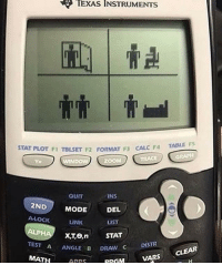 Zoom, Apps, and Calc: TEXAS  INSTRUMENTS  STAT PLOT F1 TBLSET F2 FORMAT F3 CALC  F4 TABLE FS  TRACE  GRAPH  Ya  ND  ZOOM  QUIT  INS  DEL  LIST  2NDMODE  A-LOCK  LINK  TEST  AANGLE B DRAW C  DISTR  CLEAR  MATH APPS  RRGMVARS