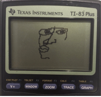 Fail, Teacher, and Zoom: TExAS INSTRUMENTs TI-83 Plus  STAT PLOT F1  TBLSET  F2  FORMAT F3  CALC  F4 TABLE  F5  YE WINDOW  TRACE GRAPH  ZOOM math teacher: alright so I'm letting you guys use your calculators on the test, nobody should fail  my calculator: https://t.co/CyFNZGLPw5