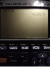 Zoom, Calc, and Texas: TEXAS INSTRUMENTS  uS  42063  FORMAT  CALC  TABLE  Y , wlNDOW ZOOM TRACE GRAP  INS  MODE  DEL