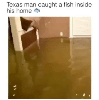 Memes, Streets, and Fish: Texas man caught a fish inside  his home The stuff going on in hurricaneharvey is WILD 😬 Fishes in people's homes, people jet skiing in the streets of houston sheesh!