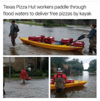 Instagram, Memes, and Pizza: Texas Pizza Hut workers paddle through  flood waters to deliver free pizzas by kayak @tanksgoodnews is the best thing to happen to Instagram, maybe ever goodnewsonly