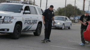 Texas poilice officer does perfect kickflip!: Texas poilice officer does perfect kickflip!