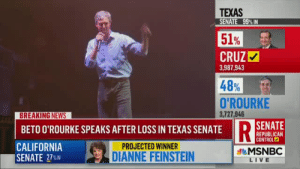 notkatniss: beto said fuck in his concession speech and msnbc had no delay. hashtag first lesbian president 2020: TEXAS  SENATE 99% IN  51%  CRUZ  48%  O'ROURKE  3,987,943  3,727,946  BETO O'ROURKE SPEAKS AFTER LOSS IN TEXAS SENATE  D SENATE  REPUBLICAN  CONTROL  CALIFORNIA  SENATE 27%IN  PROJECTED WINNER  DIANNE FEINSTEIN  MSNBC  LIVE notkatniss: beto said fuck in his concession speech and msnbc had no delay. hashtag first lesbian president 2020