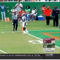 And the first moment of stupidity goes to @txsotigers 👎🏽😂(via @espncfb): Texas So.  Florida A&M  20  3rd 15:00  #TXSOvsFAMU  Gregor in junior middleweight bout at 154 lbs.-E And the first moment of stupidity goes to @txsotigers 👎🏽😂(via @espncfb)