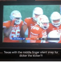 Texas' silent snap signal is anything but silent 😂 https://t.co/Wa83dYm1OA: Texas with the middle finger silent snap for  dicker the kicker?! Texas' silent snap signal is anything but silent 😂 https://t.co/Wa83dYm1OA