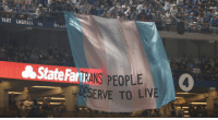 "Target, Transgender, and Tumblr: TEXT LADFAN to 6vus  State FanTRANS PEOPLE  4  DESERVE TO LIVE gaywrites: ICYMI: During the fifth inning of a World Series game this weekend, activists unfurled a giant trans pride flag bearing the words ""TRANS PEOPLE DESERVE TO LIVE"" in the middle of the crowd. The group TransLatin@ Coalition was behind the flag, citing protests of Trump's newest proposal to erase trans people; activists Maria Roman and Bamby Salcedo filmed themselves draping it in the stadium, where it stayed for several minutes. YES. (via PinkNews)"