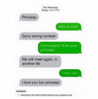 this is everywhere but i love it: Text Message  Today 10:14 PM  Princess  Who is this?  Sorry wrong number  Come back I'll be your  princess  We will meet again, in  another life  I love you  I love you too princess  bratsquad:  I think this is the most romantic thing to ever happen to me this is everywhere but i love it