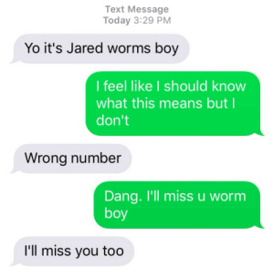 Tumblr, Yo, and Blog: Text Message  Today 3:29 PM  Yo it's Jared worms boy  I feel like I should know  what this means butl  don't  Wrong number  Dang. I'll miss u worm  boy  I'll miss you too phindsy:Like ships passing in the night, we were going in different directions on different winds, yet there was a moment in which we sailed together.
