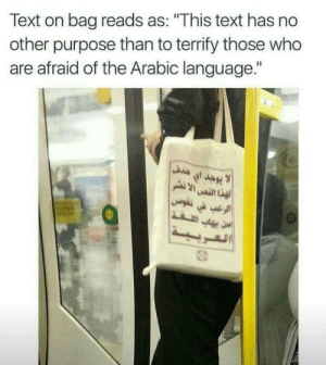 "Text, Arabic (Language), and Who: Text on bag reads as: ""This text has no  other purpose than to terrify those who  are afraid of the Arabic language."" Arabic-phobic?"